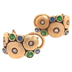 """Alex Sepkus """"Orchard"""" Earrings with Blue Sapphires and Green Tsavorites in Gold"""