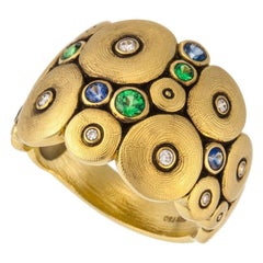 Alex Sepkus Orchard Ring with Blue Sapphire and Green Tsavorite, 18 Karat Gold