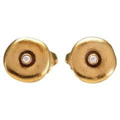 "Alex Sepkus ""Orchard"" Stud Earrings with Diamonds in 18 Karat Yellow Gold"