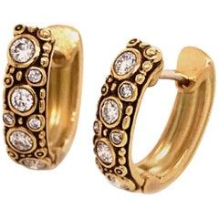 "Alex Sepkus ""Oval Hoop"" Earrings with White Diamonds in 18 Karat Yellow Gold"