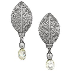 Alex Sepkus Platinum Leaf Diamond Briolet Earrings Pre Owned