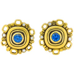 Alex Sepkus Sapphire Diamond 18 Karat Gold Earrings