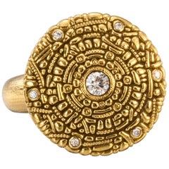"Alex Sepkus ""Shield"" Ring with White Diamonds in 18 Karat Gold"