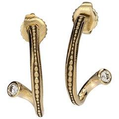 "Alex Sepkus ""Twist Hoop"" Earrings with White Diamonds in 18 Karat Yellow Gold"