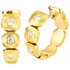Alex Sepkus Yellow Gold and Diamond Earrings