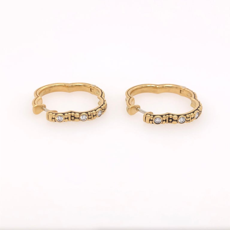 Alex Sepkus 18k Gold and Diamond Earrings.  These earrings have 10 diamonds (.30ct).