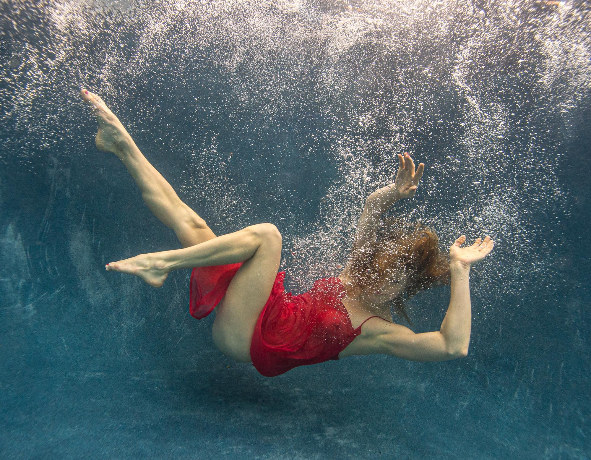 Blue Fall   - underwater photograph - print on aluminum