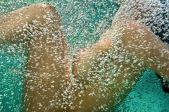 Champagne - underwater photo of naked young woman in bubbles - aluminum print
