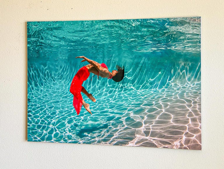 Flurry - underwater photograph - print on aluminum - Blue Color Photograph by Alex Sher