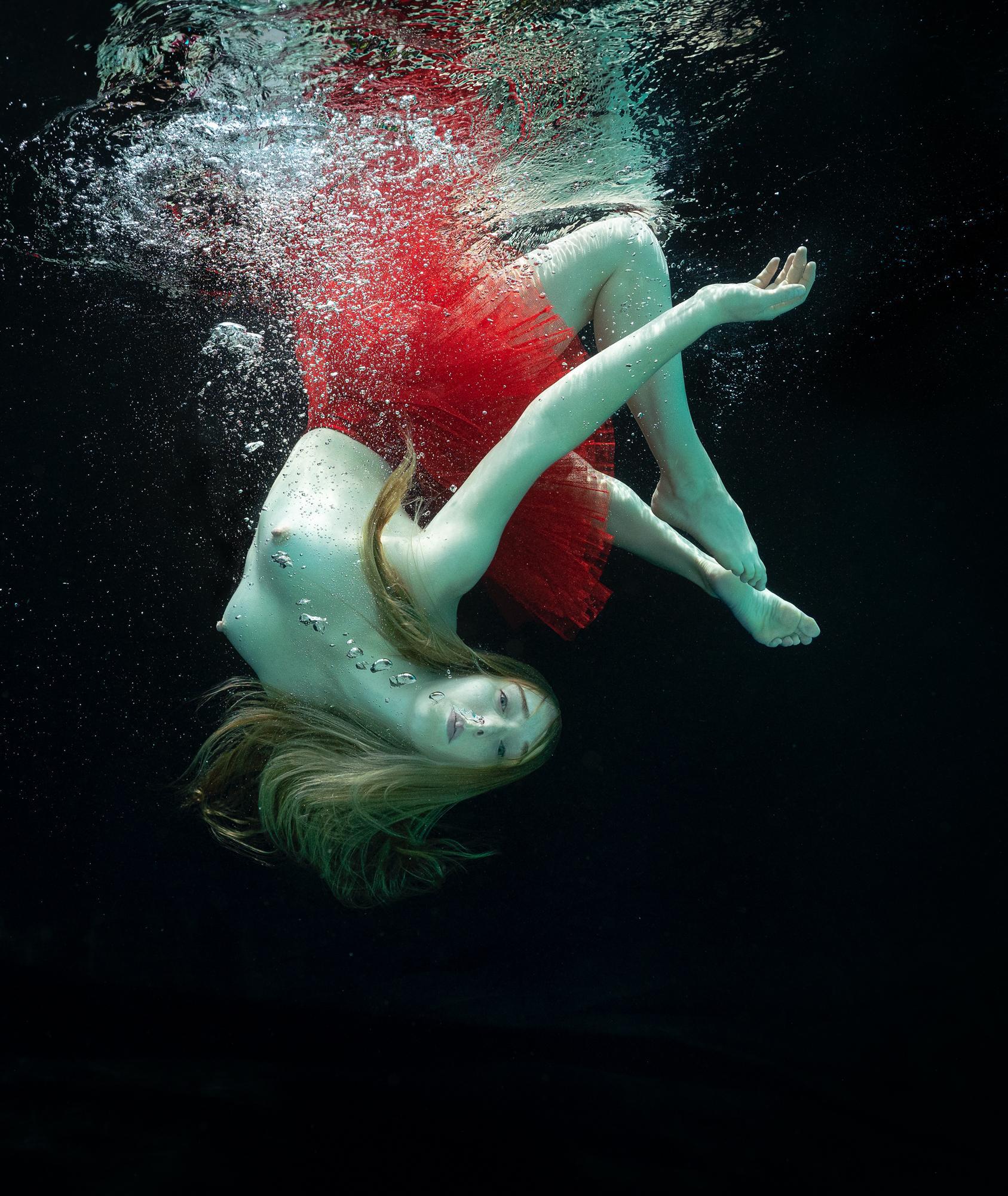 Red Pretzel - underwater nude photograph - print on paper