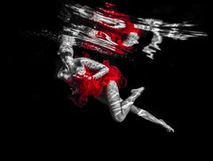 The Red Tutu - underwater nude photograph - print on paper