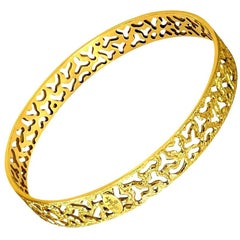 Alex Soldier 18 Karat Gold Hand-Textured Bangle Bracelet One of a Kind