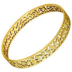 Alex Soldier 18 Karat Gold Hand-Textured Bangle Bracelet One of a Kind