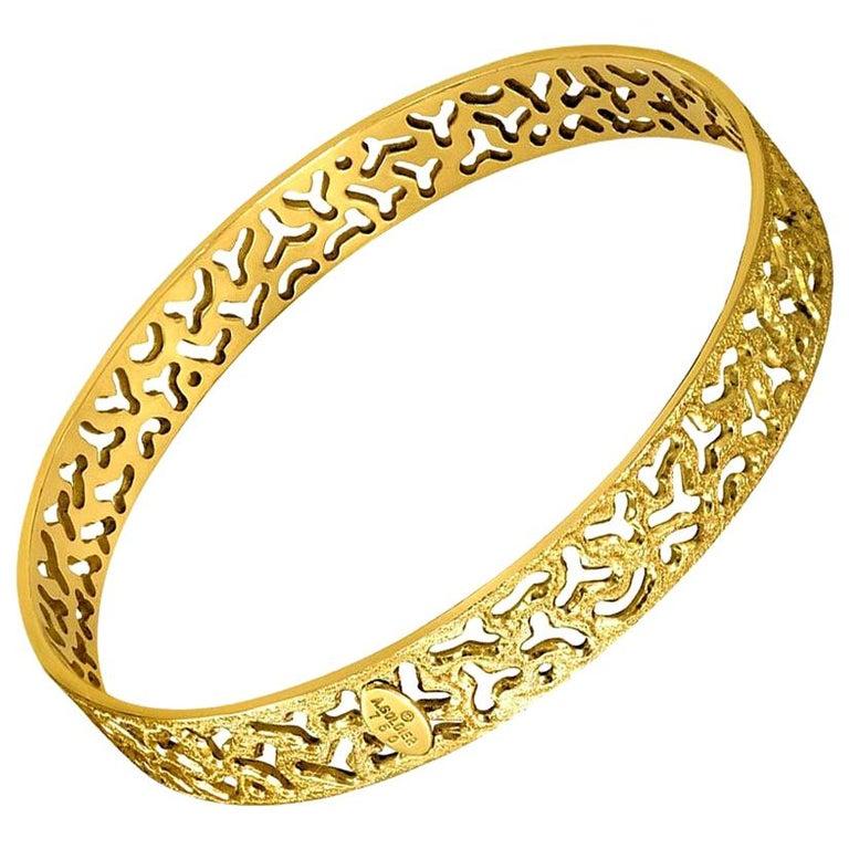 Alex Soldier 18 Karat Gold Hand-Textured Bangle Bracelet One of a Kind For Sale