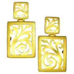 Alex Soldier 18 Karat Gold Ornament Contrast Texture Drop Earrings