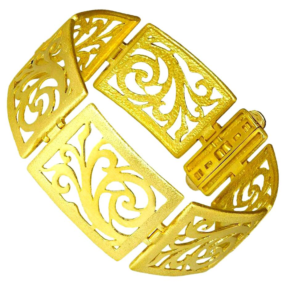 Alex Soldier 18 Karat Gold Ornament Contrast Texture Link Bracelet One of a Kind