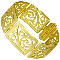 Alex Soldier 18 Karat Gold Ornament Contrast Texture Link Bracelet One of a Kind