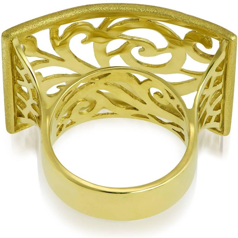 Alex Soldier 18 Karat Gold Ornament Contrast Texture Ring In New Condition In New York, NY