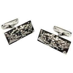 Alex Soldier 18 Karat Gold Textured Diamond Clouds Cufflinks One of a Kind