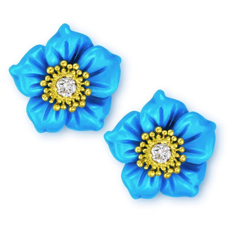Rose Cut Alex Soldier 18 Karat Gold Turquoise Diamond Blossom Convertible Stud Earrings For Sale