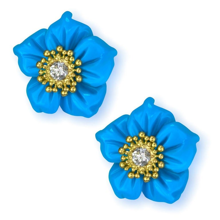 Alex Soldier 18 Karat Gold Turquoise Diamond Blossom Convertible Stud Earrings In New Condition For Sale In New York, NY