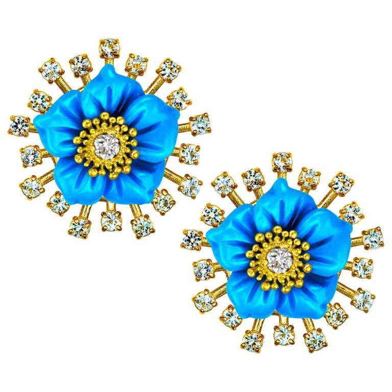 Alex Soldier 18 Karat Gold Turquoise Diamond Blossom Convertible Stud Earrings For Sale