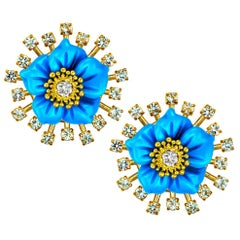 Alex Soldier 18 Karat Gold Turquoise Diamond Blossom Convertible Stud Earrings