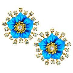 Alex Soldier 18 Karat Gold Turquoise Diamond Blossom Convertible Stud Earrings