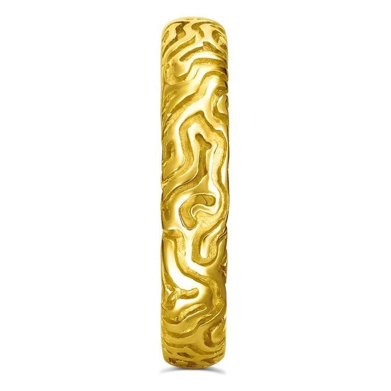Round Cut Alex Soldier 18 Karat Yellow Gold Carved Valentine Band One of a Kind