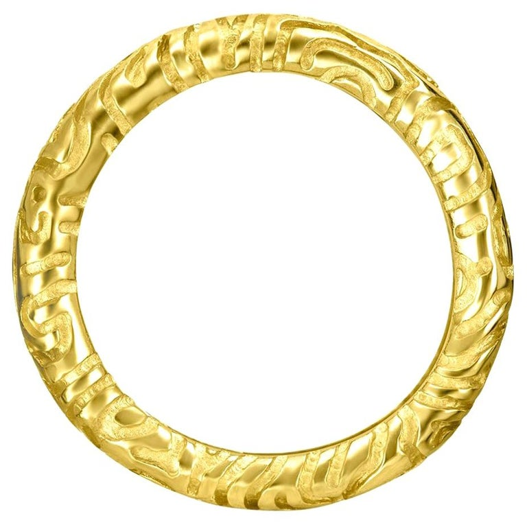 Alex Soldier 18 Karat Yellow Gold Carved Valentine Band One of a Kind