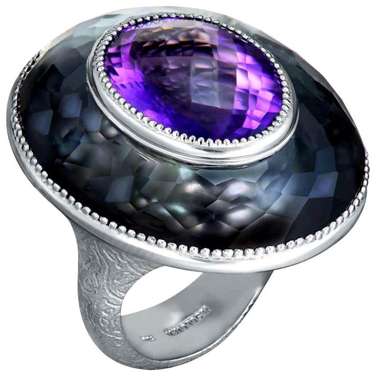 Alex Soldier Cocktail Ring with amethyst & hematite/quartz doublet set in signature textured sterling silver, deeply plated with platinum. Handmade with love in NYC from responsibly sourced materials. One of a kind. Amethyst: 1 stone, total carat