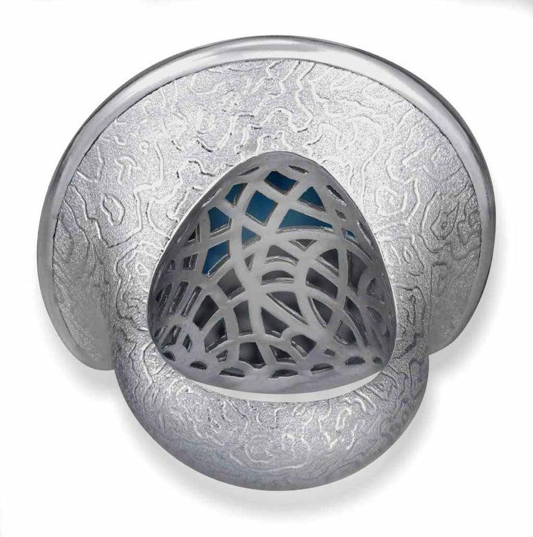 Alex Soldier Amethyst Hematite Quartz Sterling Silver Platinum Ring In New Condition In New York, NY