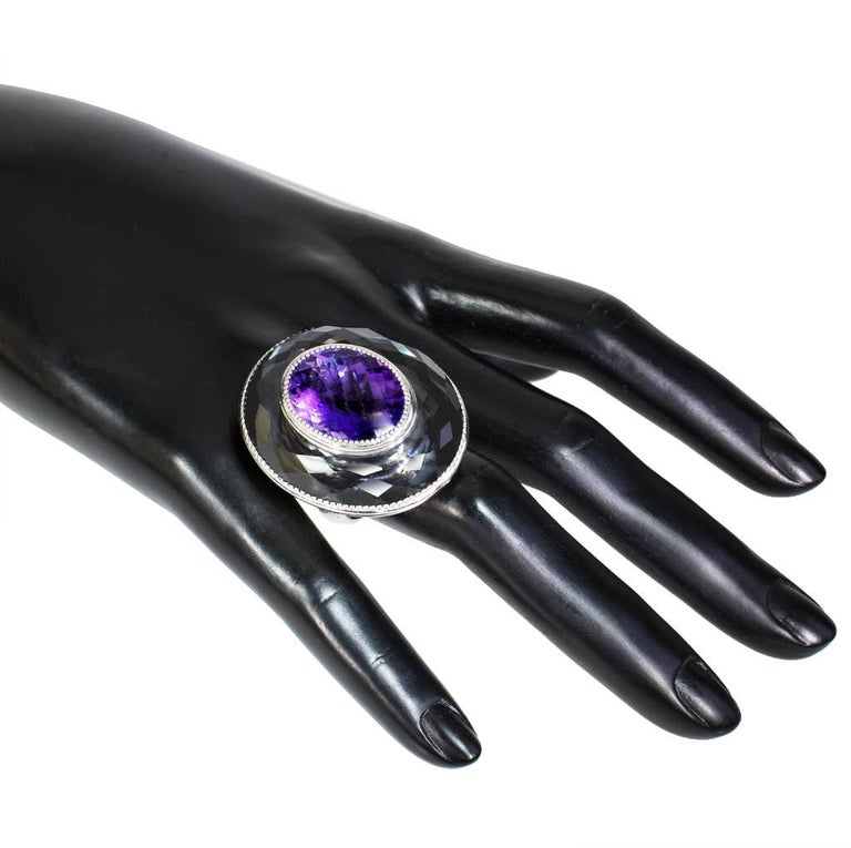 Women's or Men's Alex Soldier Amethyst Hematite Quartz Sterling Silver Platinum Ring