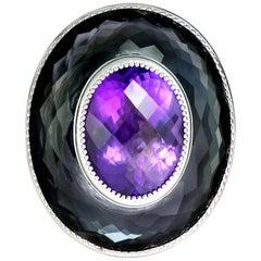 Alex Soldier Amethyst Hematite Quartz Sterling Silver Platinum Ring