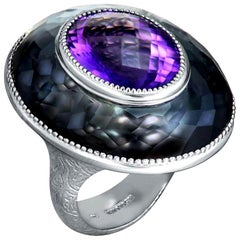 Alex Soldier Amethyst Hematite Quartz Sterling Silver Platinum Ring