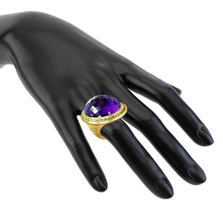 Alex Soldier Amethyst Peridot Gold Symbolica Ring One of a Kind For Sale 1