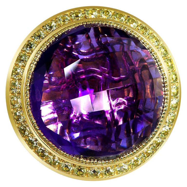Alex Soldier Amethyst Peridot Gold Symbolica Ring One of a Kind For Sale