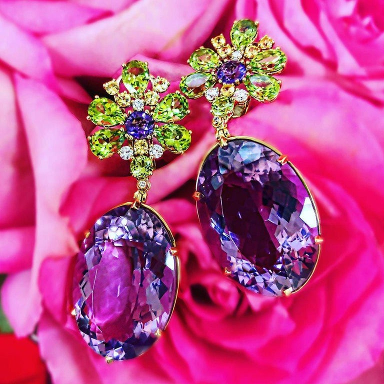 Alex Soldier Amethyst Peridot Sapphire Diamond Gold Drop Earrings One of a Kind For Sale 1