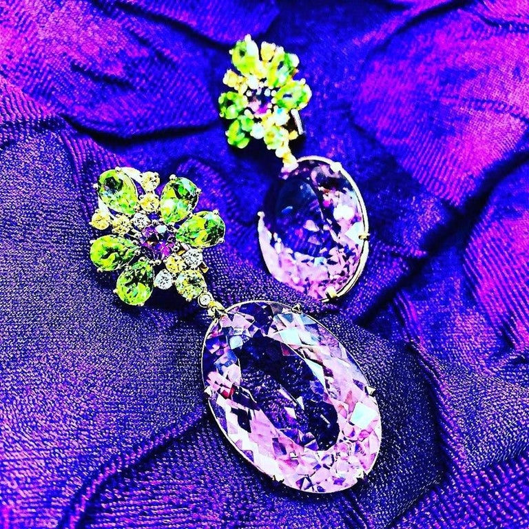 Alex Soldier Amethyst Peridot Sapphire Diamond Gold Drop Earrings One of a Kind For Sale 2