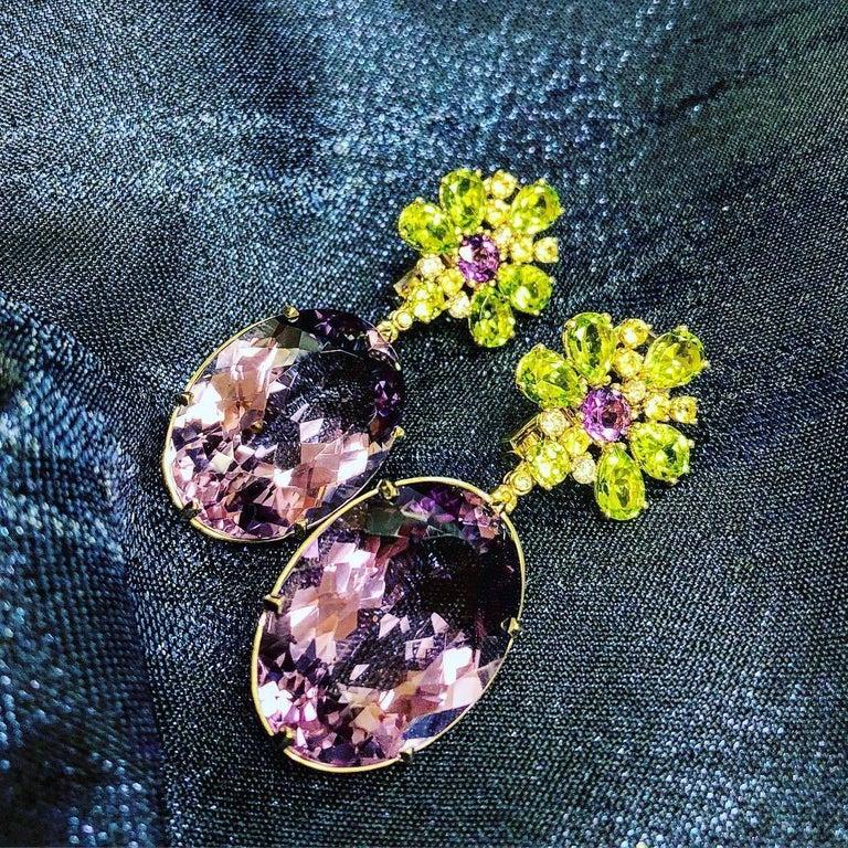 Alex Soldier Amethyst Peridot Sapphire Diamond Gold Drop Earrings One of a Kind For Sale 3