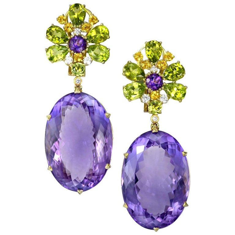 Alex Soldier Amethyst Peridot Sapphire Diamond Gold Drop Earrings One of a Kind For Sale