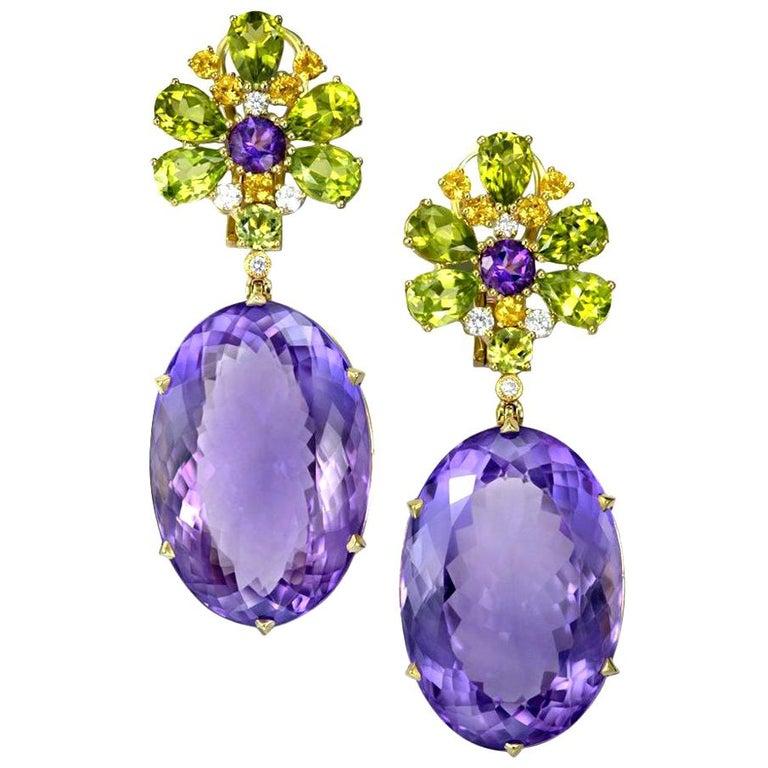 Alex Soldier Amethyst Peridot Sapphire Diamond Gold Drop Earrings One of a Kind For Sale