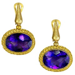 Alex Soldier Amethyst Sapphire Gold Drop Textured Earrings One of a Kind