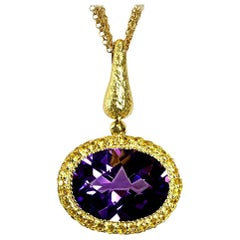 Alex Soldier Amethyst Sapphire Gold Pendant Necklace on Chain