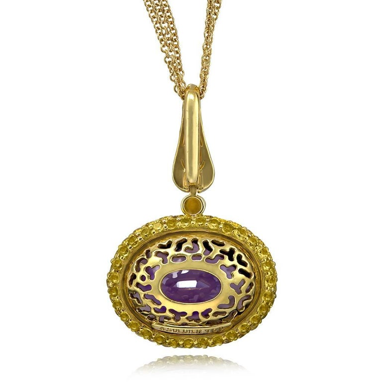 Oval Cut Alex Soldier Amethyst Sapphire Gold Pendant Necklace on Chain One of a Kind For Sale