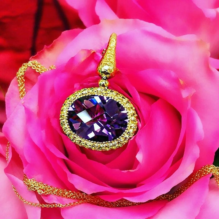 Women's or Men's Alex Soldier Amethyst Sapphire Gold Pendant Necklace on Chain One of a Kind For Sale