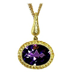 Alex Soldier Amethyst Sapphire Gold Pendant Necklace on Chain One of a Kind