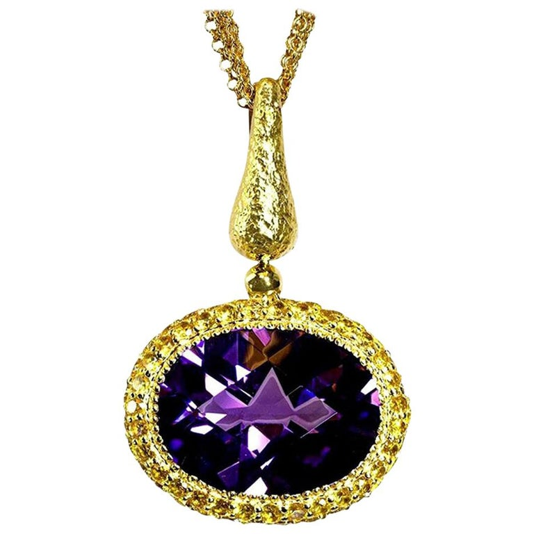 Alex Soldier Amethyst Sapphire Gold Pendant Necklace on Chain One of a Kind For Sale