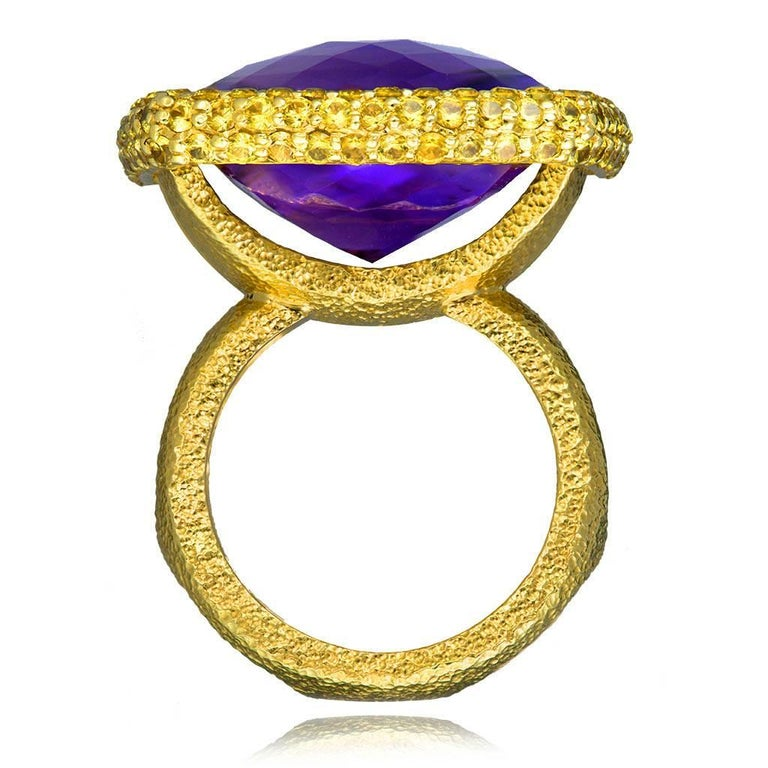 Contemporary Alex Soldier Amethyst Sapphire Gold Textured Cocktail Ring One of a Kind For Sale