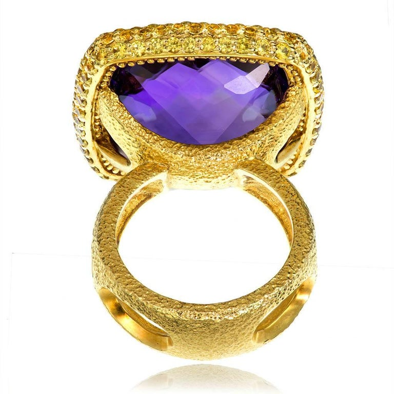 Cushion Cut Alex Soldier Amethyst Sapphire Gold Textured Cocktail Ring One of a Kind For Sale